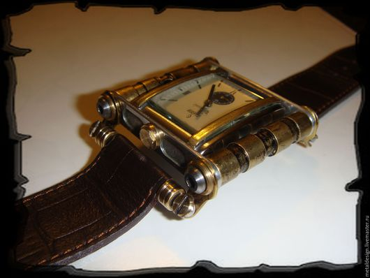 Стимпанк ручной работы. Ярмарка Мастеров - ручная работа. Купить Мужские часы с поворачивающимся корпусом в стиле стимпанк. Handmade. Комбинированный