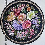 """Картины и панно ручной работы. Ярмарка Мастеров - ручная работа """"Жостовские букеты""""  -поднос, вышивка  лентами. Handmade."""