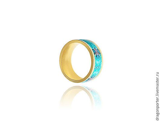 """Кольца ручной работы. Ярмарка Мастеров - ручная работа. Купить Небесно-голубое позолоченное кольцо для любимой - """" Лазурная любовь"""". Handmade."""