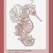 """Картины и панно ручной работы. Ярмарка Мастеров - ручная работа Схема для вышивки крестом """"Морской конек"""". Handmade."""