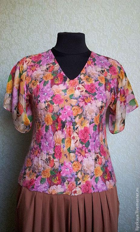 """Блузки ручной работы. Ярмарка Мастеров - ручная работа. Купить Блузка валяная на шелке """"Цветы"""". Handmade. Блуза из шелка"""