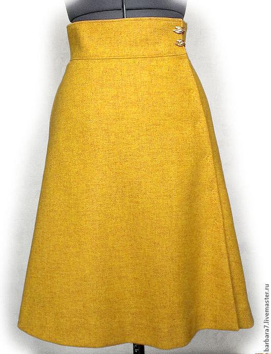 Юбки ручной работы. Ярмарка Мастеров - ручная работа. Купить Теплая юбка из шерстяной ткани желтого цвета с запахом. Handmade.
