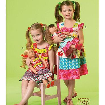 Материалы для творчества ручной работы. Ярмарка Мастеров - ручная работа M7109 Выкройки платьев для девочек 6-8 лет и куклы 45см. Handmade.