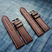 Аксессуары handmade. Livemaster - original item Leather strap Burgundy 20mm and 22mm. Handmade.