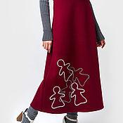 Одежда ручной работы. Ярмарка Мастеров - ручная работа Юбка/ Юбка теплая/ Юбка зимняя красная с куколками. Handmade.