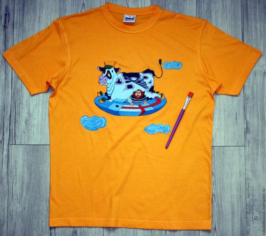 Футболка `Летающая корова`, ручная роспись На фото размер М (48) мужской