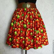 """Одежда ручной работы. Ярмарка Мастеров - ручная работа Юбка """"Яблочки"""",размер универсальный,на резинке,из хлопка. Handmade."""