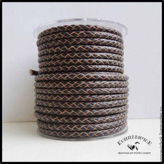 Для украшений ручной работы. Ярмарка Мастеров - ручная работа. Купить Коричневый-рябой Плетеный кожаный шнур 5мм Индия. Handmade.