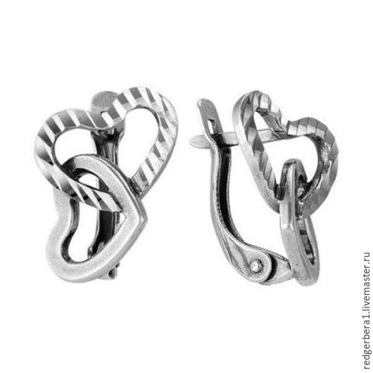 """Для украшений ручной работы. Ярмарка Мастеров - ручная работа. Купить Швензы с алмазной гранью """"Два сердца"""" серебрение 925 пробы. Handmade."""