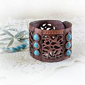 Браслет из бусин ручной работы. Ярмарка Мастеров - ручная работа Ажурный браслет из кожи  Бирюза. Handmade.