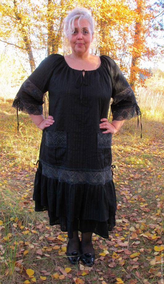 Большие размеры ручной работы. Ярмарка Мастеров - ручная работа. Купить Платье Бохо в чёрном с кружевом. Handmade. Черный