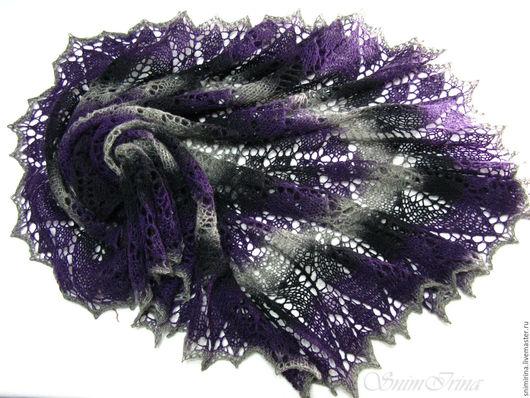 Шали, палантины ручной работы. Ярмарка мастеров - ручная работа. Купить шаль из кауни. Handmade. Разноцветная, темно-фиолетовая, кауни. Шаль Черная лилия.