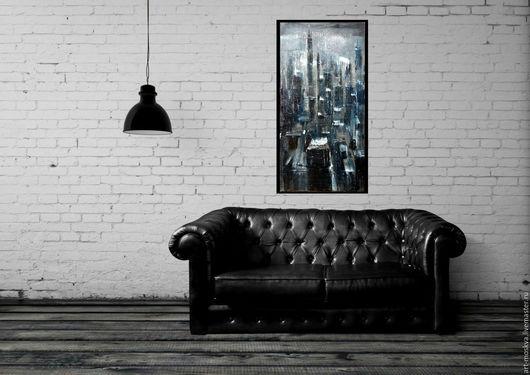 Город ручной работы. Ярмарка Мастеров - ручная работа. Купить Ночной город, 60х120 см. Handmade. Темно-серый, спрей