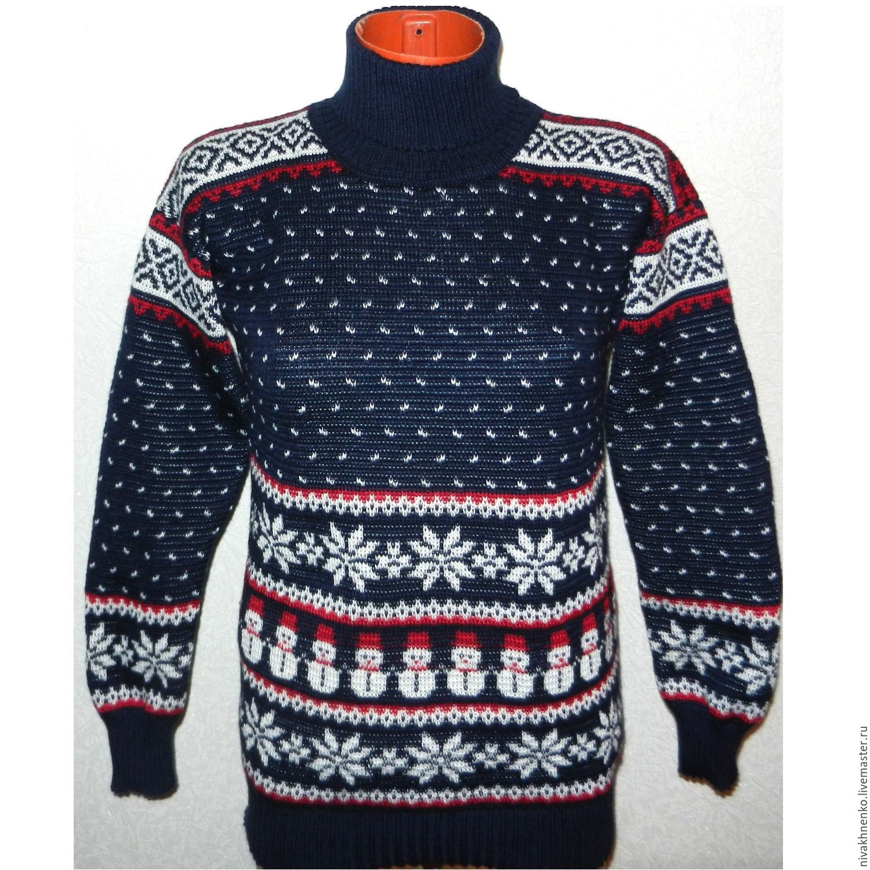 Women's sweater with Norwegian pattern Snowman, Sweaters, Moscow,  Фото №1