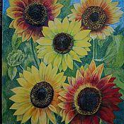 Картины ручной работы. Ярмарка Мастеров - ручная работа Картины: Яркие подсолнухи. Handmade.