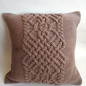 Для дома и интерьера handmade. Livemaster - original item Decorative knitted pillow 40h40 cm Pillowcase for a pillow for the country. Handmade.
