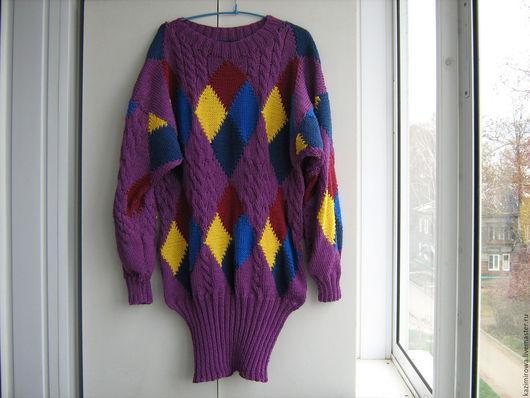 Кофты и свитера ручной работы. Ярмарка Мастеров - ручная работа. Купить платье-свитер с ромбами. Handmade. Фиолетовый, в клеточку