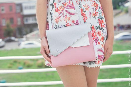 """Женские сумки ручной работы. Ярмарка Мастеров - ручная работа. Купить Сумка через плечо """"Frida"""", серебристая сумка, розовая сумочка. Handmade."""