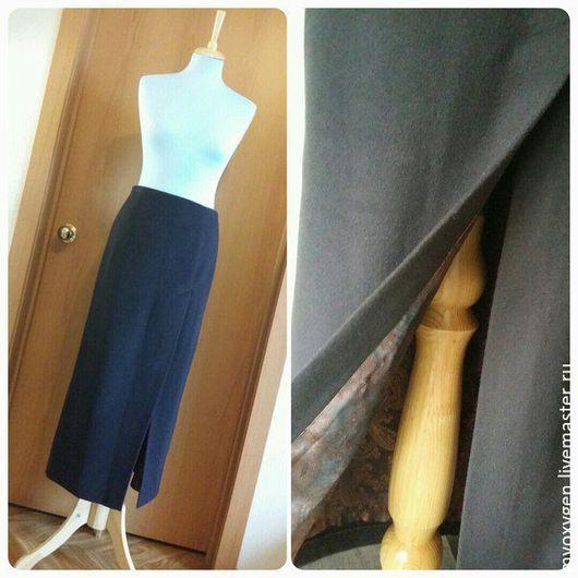Юбки ручной работы. Ярмарка Мастеров - ручная работа. Купить Длинная тёплая юбка с разрезом, шерстяной драп. Handmade. Коричневый