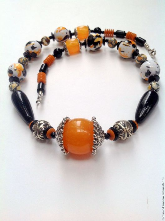 Колье бусы из натуральных камней и других мат-лов Импрессионизм. Украшение ручной работы. Handmade necklace.
