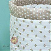 Корзины ручной работы. Ярмарка Мастеров - ручная работа Текстильная корзинка для игрушек со звездами. Handmade.
