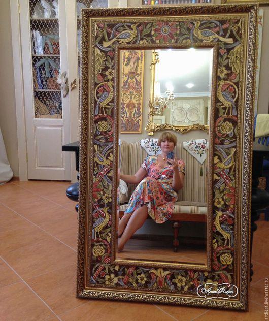 Зеркала ручной работы. Ярмарка Мастеров - ручная работа. Купить Зеркало Морисс Роспись керамики. Handmade. Коричневый, зеркало в прихожую