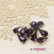 Материалы для творчества handmade. Livemaster - original item 13h8 mm amethyst drops in gold and silver frames sewn on. Handmade.
