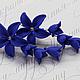 Серьги синие с колокольичками. Цена 750р