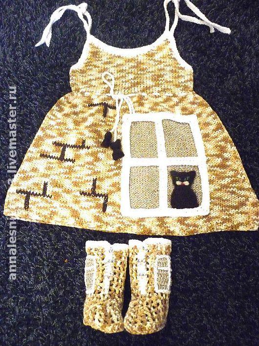 """Одежда для девочек, ручной работы. Ярмарка Мастеров - ручная работа. Купить Сарафанчик """"Сидит кошка на окошке"""". Handmade. Вязаное платье"""