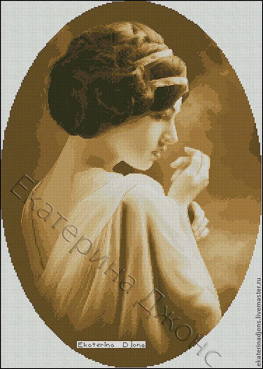"""Авторская схема вышивки крестом """"Портрет девушки"""". Автор - Екатерина Джонс."""