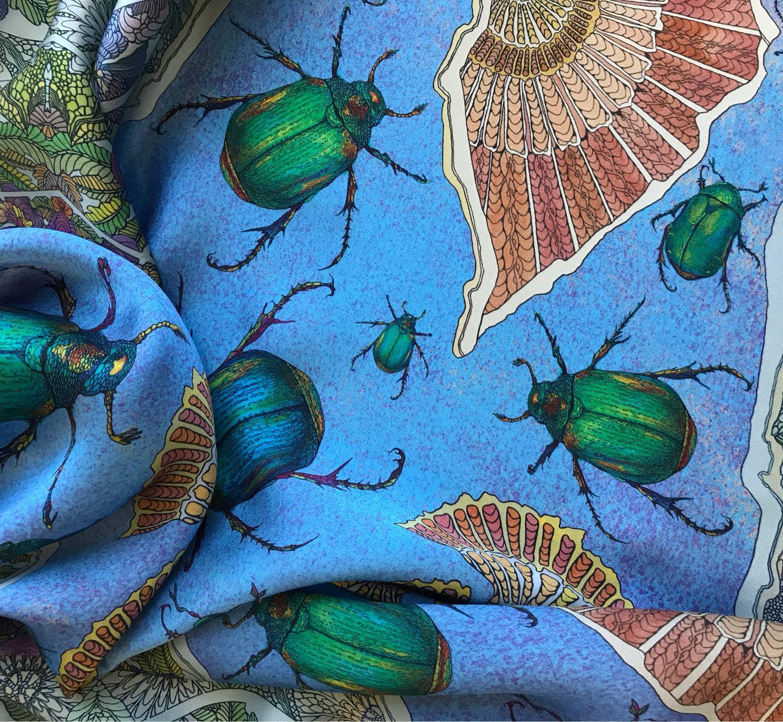Платок «Жуки-бронзовики» синий, Платки, Москва,  Фото №1