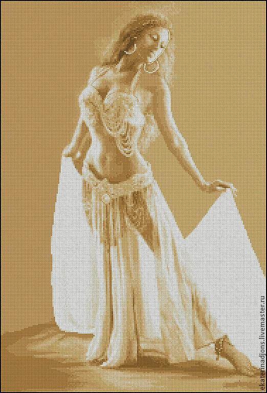 """Вышивка ручной работы. Ярмарка Мастеров - ручная работа. Купить Авторская схема вышивки крестом """"Танцовщица"""". Handmade. Бежевый"""