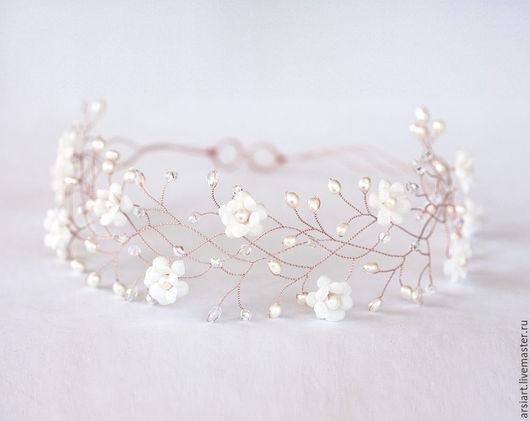 Свадебные украшения ручной работы. Ярмарка Мастеров - ручная работа. Купить Веночек из розового золота, Цветочная корона, Белые цветы, Для свадьбы. Handmade.