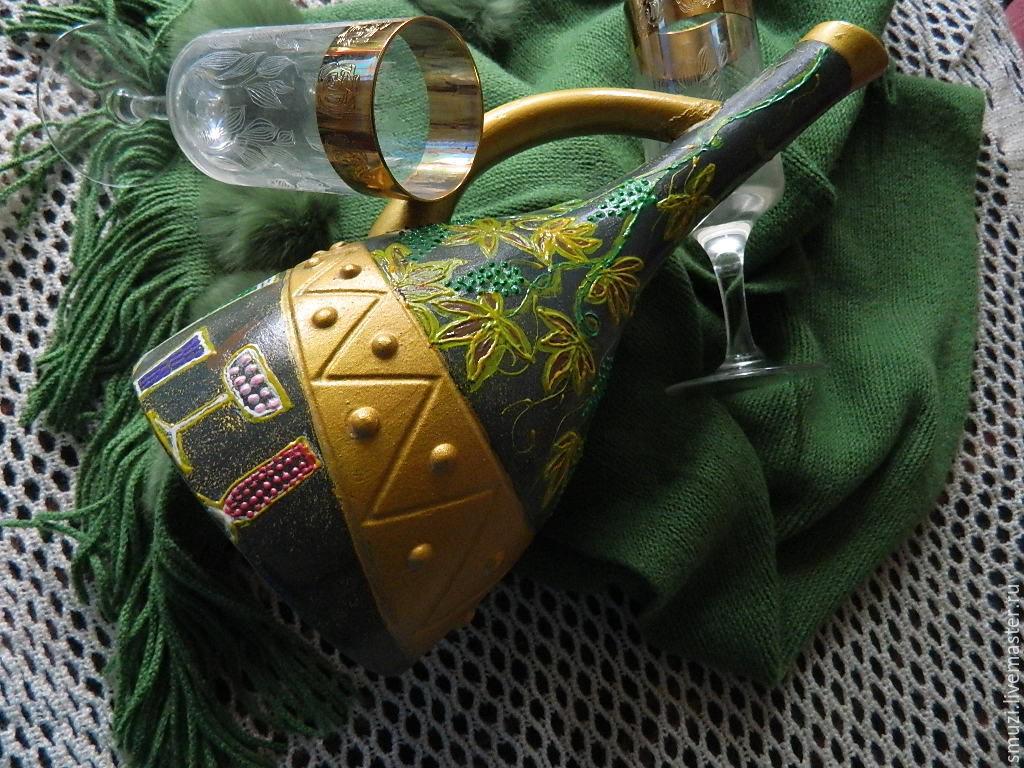 Графины, кувшины ручной работы. Ярмарка Мастеров - ручная работа. Купить Кувшин керамика ВИНОГРАДНЫЙ БАР(бутылка без содержимого). Handmade.
