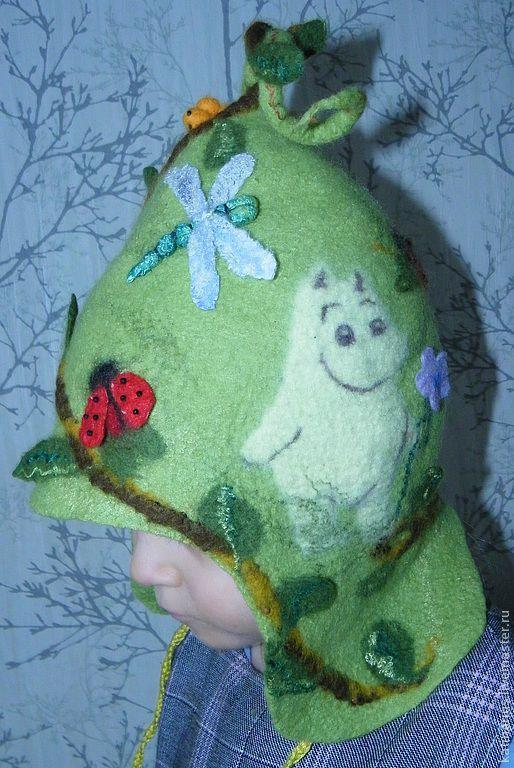 Шапки и шарфы ручной работы. Ярмарка Мастеров - ручная работа. Купить Шапочка Весна в Мумидолле. Handmade. Салатовый, войлок