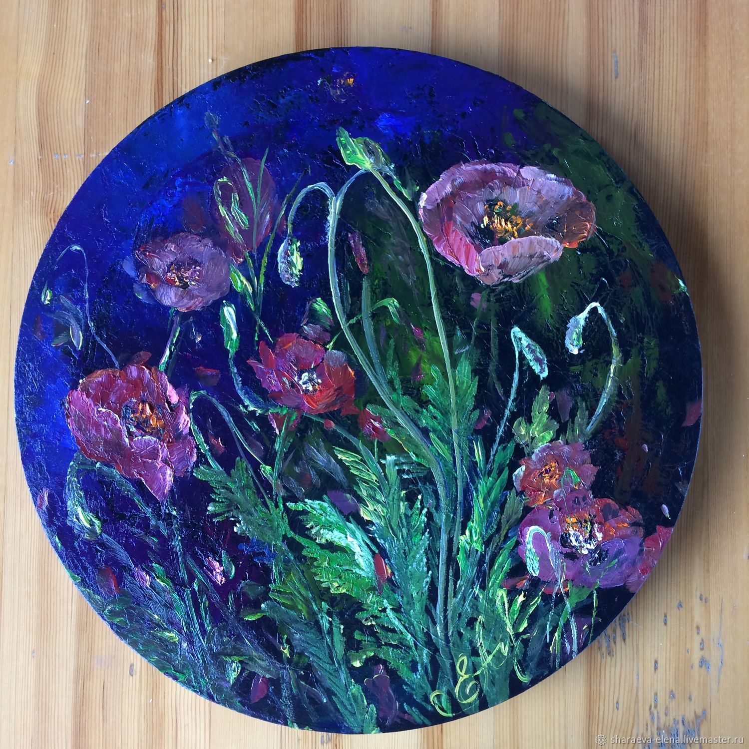 Oil painting Midnight poppies on a round canvas, Pictures, Chita,  Фото №1