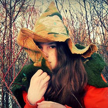 Аксессуары ручной работы. Ярмарка Мастеров - ручная работа Ведьмочка Молли Роу шляпа-капюшон с пелериной. Handmade.