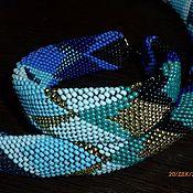 Украшения ручной работы. Ярмарка Мастеров - ручная работа Комплект из бисера сине-голубой. Handmade.