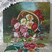 """Картины и панно ручной работы. Ярмарка Мастеров - ручная работа натюрморт """"розы в корзине"""". Handmade."""