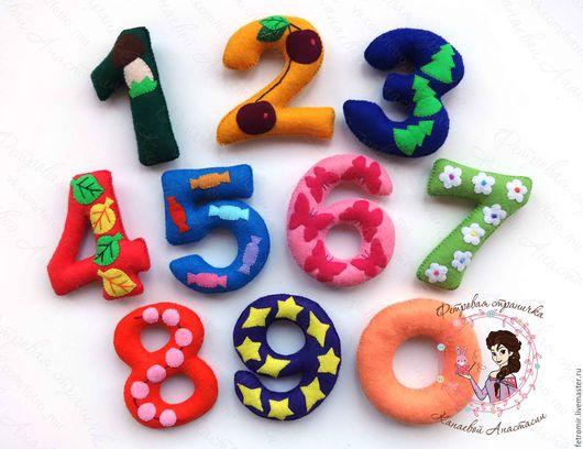 Развивающие игрушки ручной работы. Ярмарка Мастеров - ручная работа. Купить Цифры из фетра (Авторская работа!!!). Handmade. Цифры, счет
