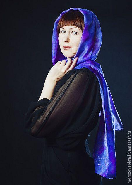 """Шарфы и шарфики ручной работы. Ярмарка Мастеров - ручная работа. Купить Батик шарф """"Виолетта"""". Handmade. Тёмно-фиолетовый"""