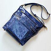 Сумки и аксессуары handmade. Livemaster - original item Blue leather bag with pockets (nat.pull-up leather). Handmade.
