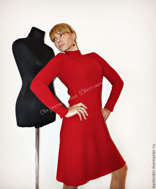 """Платья ручной работы. Ярмарка Мастеров - ручная работа. Купить Вязаное платье резинка """"Танго"""". Handmade. Ярко-красный"""