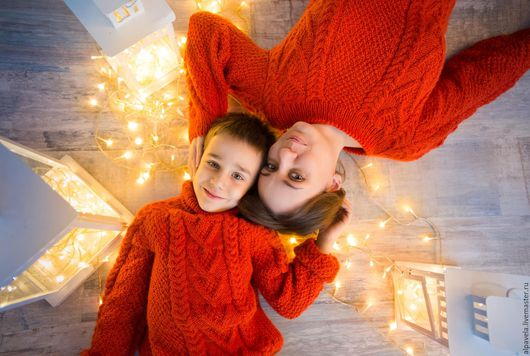 Кофты и свитера ручной работы. Ярмарка Мастеров - ручная работа. Купить Свитера family look Оранжевое настроение. Handmade. Рыжий