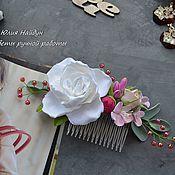Украшения ручной работы. Ярмарка Мастеров - ручная работа Гребень 19 см  с цветами из полимерной глины. Handmade.
