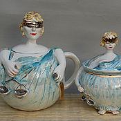 """Посуда ручной работы. Ярмарка Мастеров - ручная работа """"Фемида"""".Заварочный чайник и сахарница.. Handmade."""