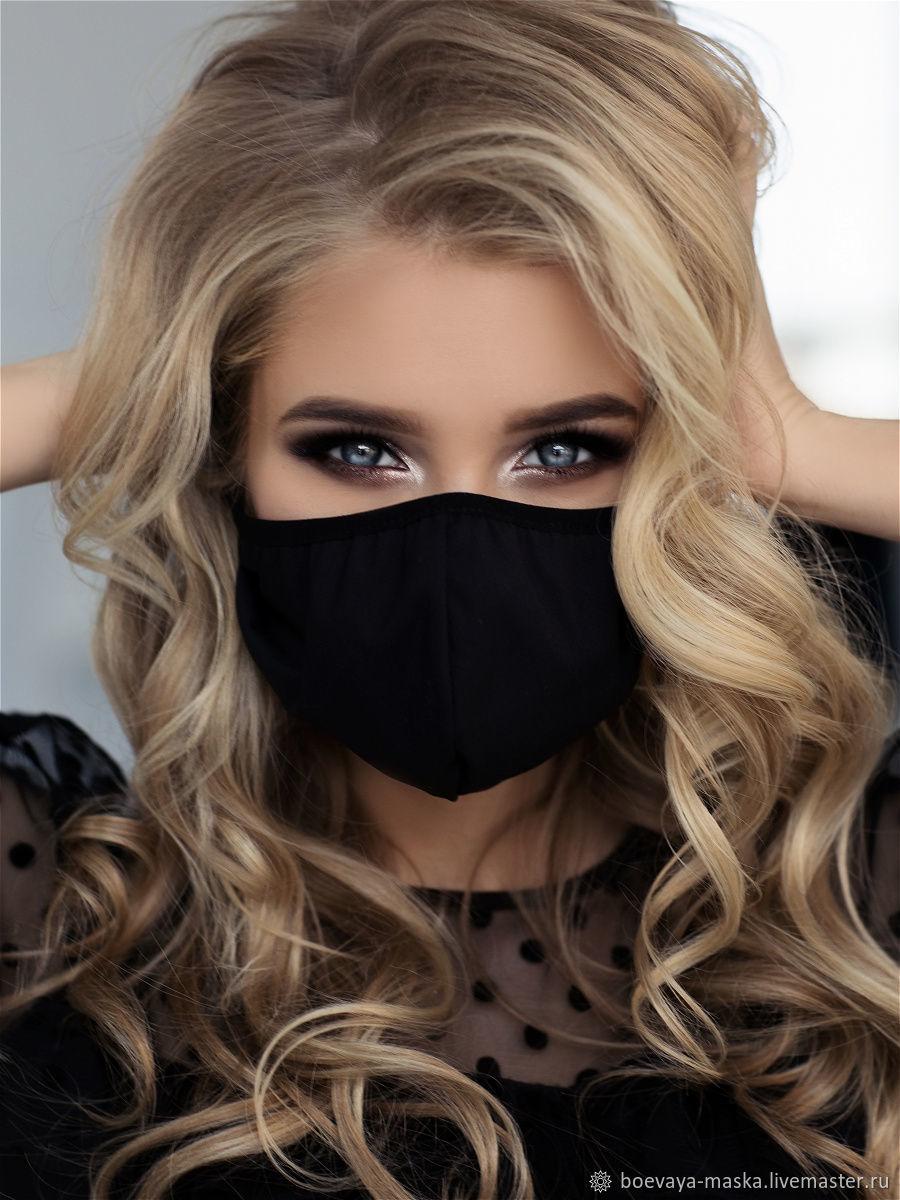 Черная многоразовая маска, Защитные маски, Москва,  Фото №1