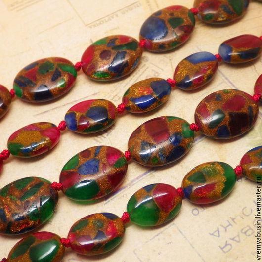 Для украшений ручной работы. Ярмарка Мастеров - ручная работа. Купить 3664. Мозаика бусины овалы плоские. Handmade. Мозаика