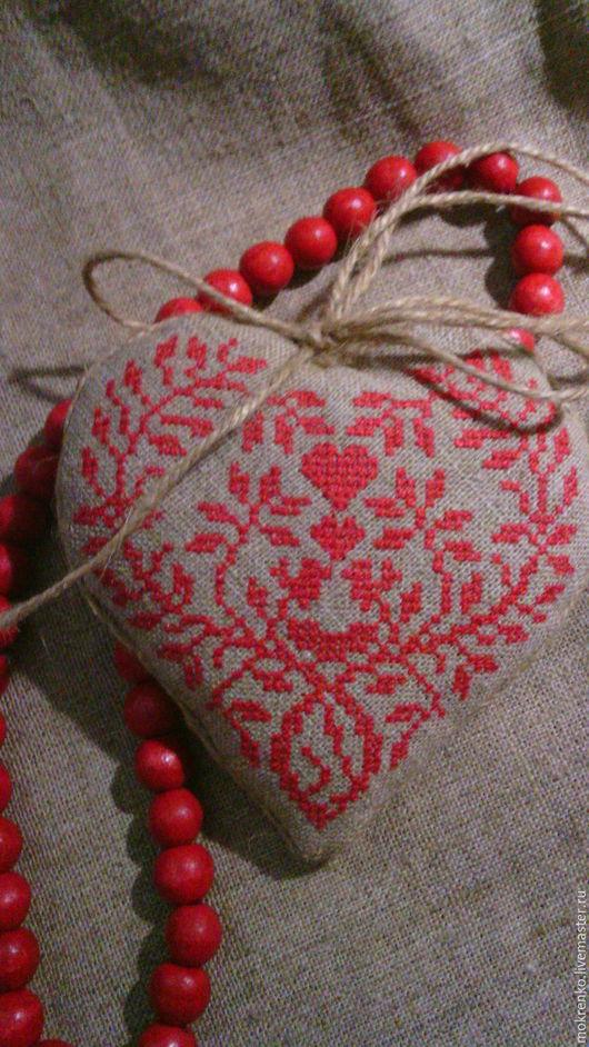 Текстильное сердечко вышиванка валентинка 1
