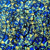 """Материалы для творчества ручной работы. Ярмарка Мастеров - ручная работа Плащевка """"Желто-синий микс"""". Handmade."""